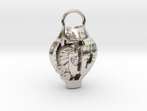 AI pendant in Rhodium Plated Brass