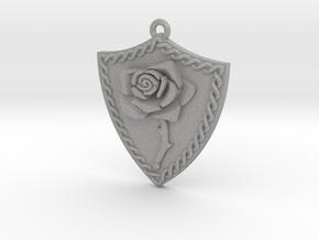 Rose Shield Pendant in Aluminum