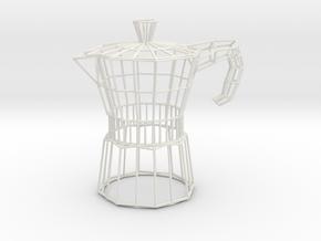 Moka Coffee Pot Wireframe in White Natural Versatile Plastic
