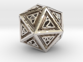 Dice: D20 in Rhodium Plated Brass