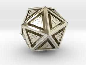 Dice: D20 in 14k White Gold