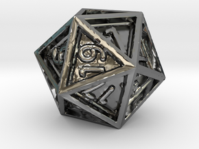 Dice: D20 in Fine Detail Polished Silver