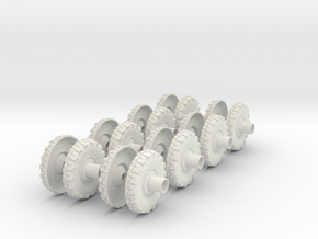Stryker APC Wheels(1:18 Scale) in White Strong & Flexible