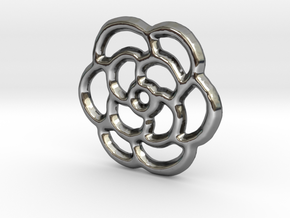 Camellia Pendant/Charm - 16mm in Fine Detail Polished Silver