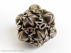 Floral 2 - D20 Spindown Life Counter in Polished Bronzed Silver Steel