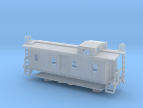 Illinois Central Side Door Caboose - Nscale in Smooth Fine Detail Plastic