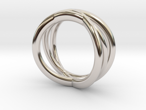Three Orbits Entwined:Trinity UK size M (US 6 ¼) in Rhodium Plated Brass