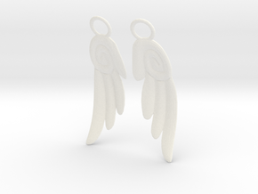 Chibi Wing Earrings in White Processed Versatile Plastic