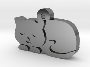 Cat Charm in Fine Detail Polished Silver