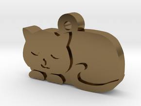 Cat Charm in Polished Bronze