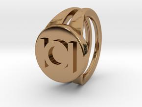 Green lantern ring in Polished Brass