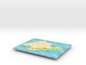 Mallorca Map - Watercolor in Glossy Full Color Sandstone