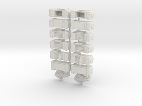 28mm - Ammo Boxes in White Natural Versatile Plastic