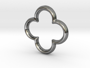 Quatrefoil Charm - 11mm in Fine Detail Polished Silver