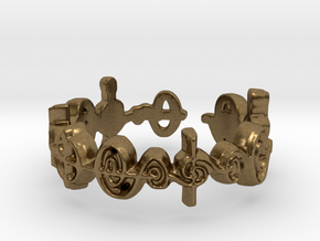 """""""Cast Out Fear"""" Surakian Vulcan Ring- Cut Style in Natural Bronze: 7.5 / 55.5"""