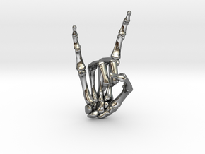 Devil Horns Right Hand in Fine Detail Polished Silver