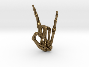 Devil Horns Left Hand in Polished Bronze