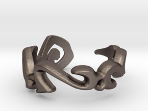 """Rata Tafar Tapan"" Vulcan Script Ring - Cut Style in Polished Bronzed Silver Steel: 7.5 / 55.5"