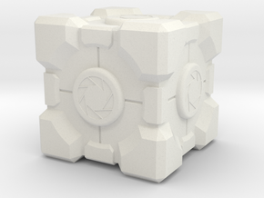 "Weighted Portal Cube - Aperture 1"" (100% Accurate) in White Natural Versatile Plastic"
