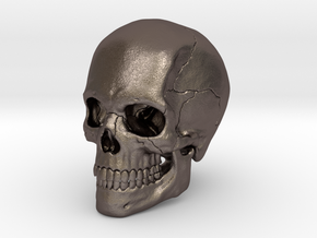 Artist Sculpted Skull For Reference in Polished Bronzed Silver Steel