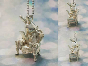 Phoneholic Rabbit pendant in Polished Silver