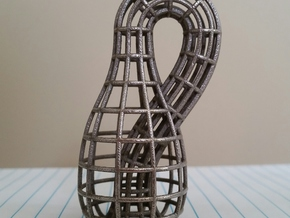 Klein Bottle Wireframe in Polished Bronzed Silver Steel