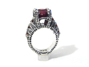 Ruby Corpse Ring - Sz 7 in Natural Silver