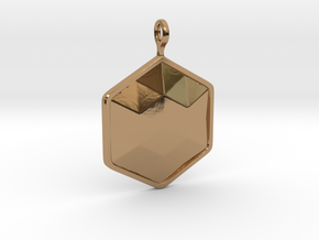 Geometric Hexagon Pendant in Polished Brass