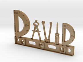 David Nametag in Matte Gold Steel