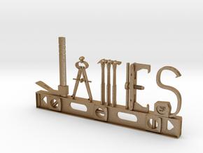 James Nametag in Matte Gold Steel