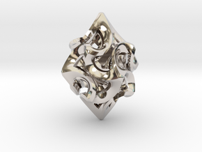 Flame Rhomb Pendant in Rhodium Plated Brass