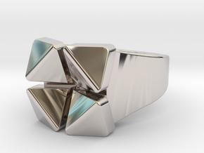 Box Flower - Precious Metals & Plastics in Rhodium Plated Brass