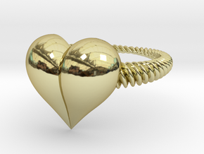 Size 10 Heart Ring in 18k Gold Plated Brass