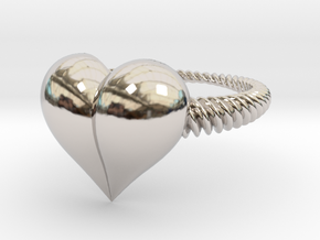 Size 10 Heart Ring in Rhodium Plated Brass