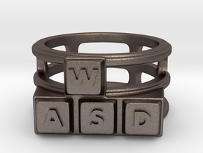 WASD Ring in Polished Bronzed Silver Steel: 8 / 56.75