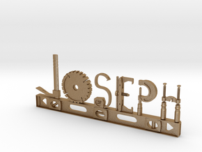 Joseph Nametag in Matte Gold Steel