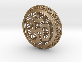 Flower Of Life Pendant  in Matte Gold Steel
