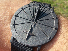 27.75N Sundial Wristwatch With Compass Rose in Polished Grey Steel