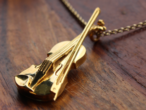 Violin and Bow Pendant in 18k Gold Plated