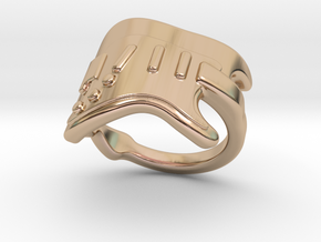 Electric Guitar Ring 17 - Italian Size 17 in 14k Rose Gold Plated Brass