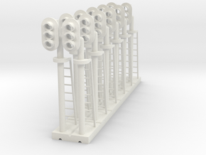 Block Signal 3 Light LH (Qty 12) - HO 87:1 Scale in White Natural Versatile Plastic