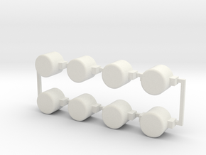 8 blank buttons in White Natural Versatile Plastic