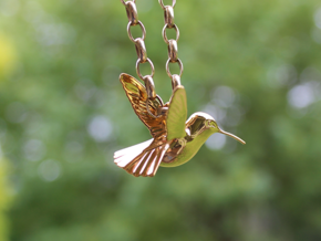 Hummingbird Pendant in Polished Brass