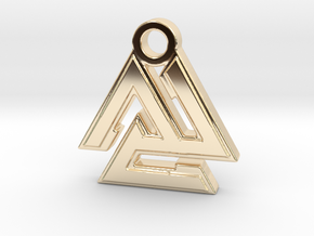 Valknut Pendant in 14k Gold Plated Brass