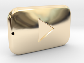Youtube Button Keychain in 14k Gold Plated Brass