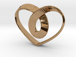Heart Mobius Strip in Polished Brass