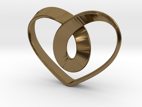 Heart Mobius Strip in Polished Bronze