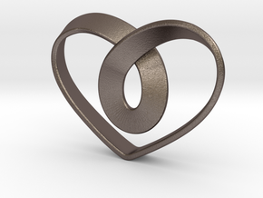 Heart Mobius Strip in Polished Bronzed Silver Steel
