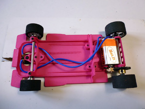 Slot car chassis for 787B 1/28 in Pink Strong & Flexible Polished