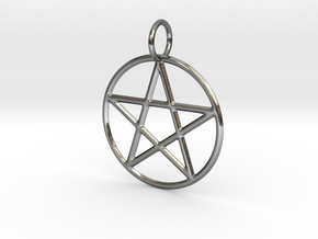 Pentacle Pendant in Fine Detail Polished Silver